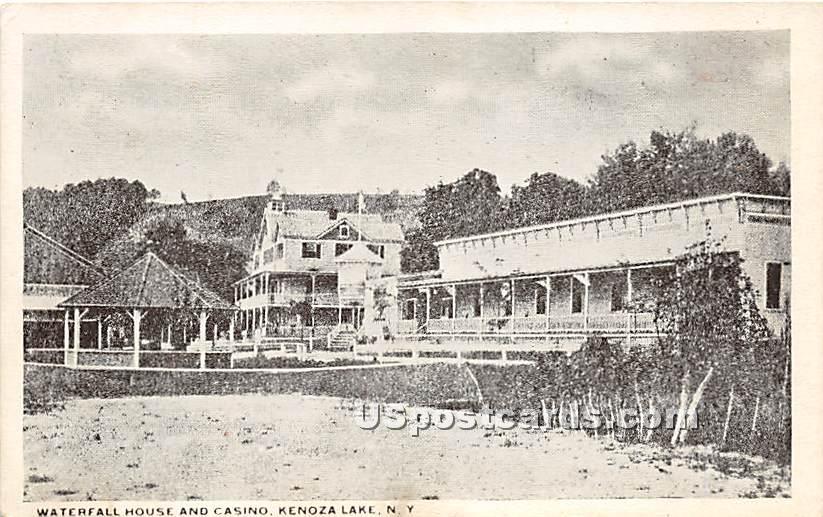 Waterfall House and Casino - Kenoza Lake, New York NY Postcard