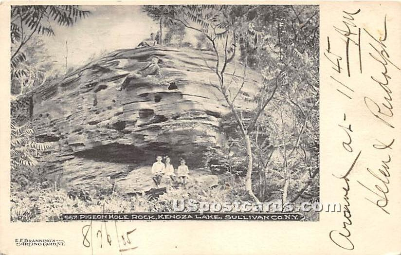 Pigeon Hole Rock - Kenoza Lake, New York NY Postcard
