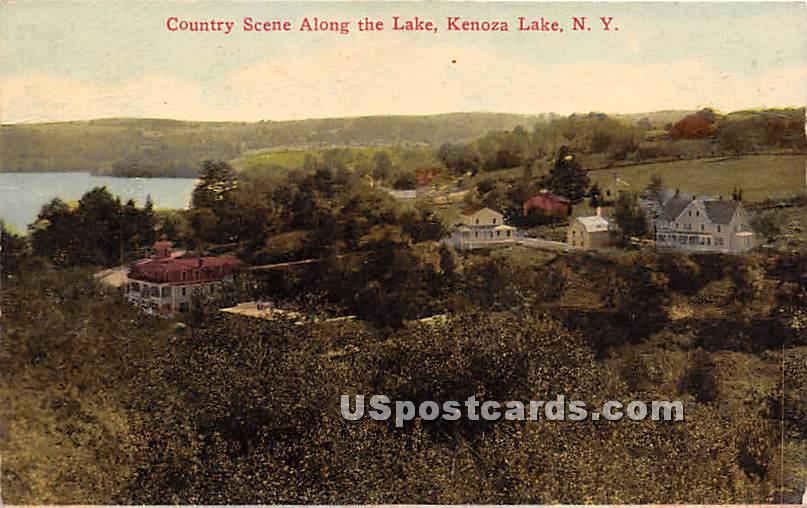Country Scene Along the Lake - Kenoza Lake, New York NY Postcard