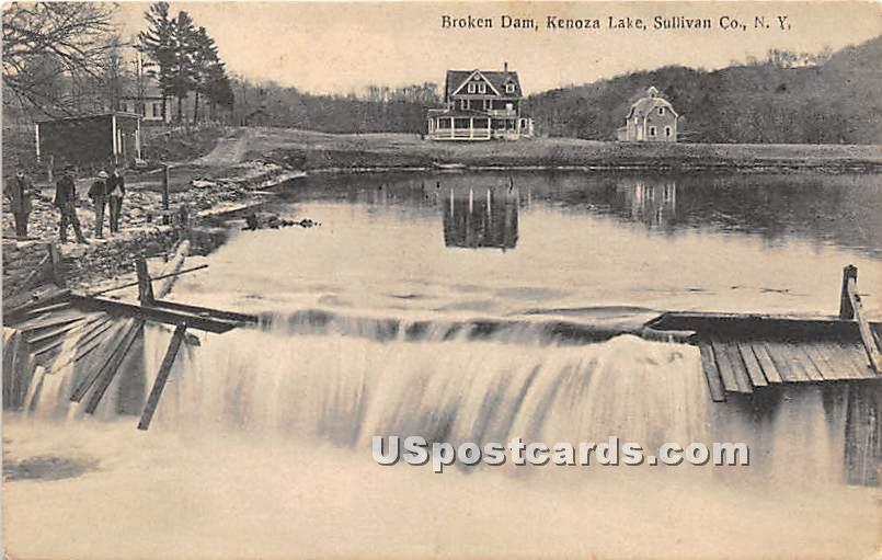 Broken Dam - Kenoza Lake, New York NY Postcard