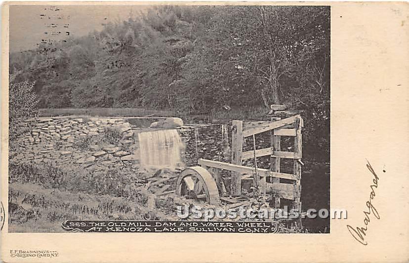The Old Mill Dam and Water Wheel - Kenoza Lake, New York NY Postcard
