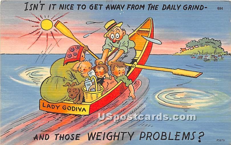 Lady Godiva, Nice to get away - Kenoza Lake, New York NY Postcard