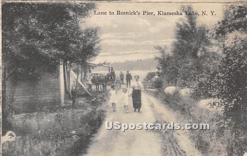 Lane to Resnick's Pier - Kiamesha Lake, New York NY Postcard
