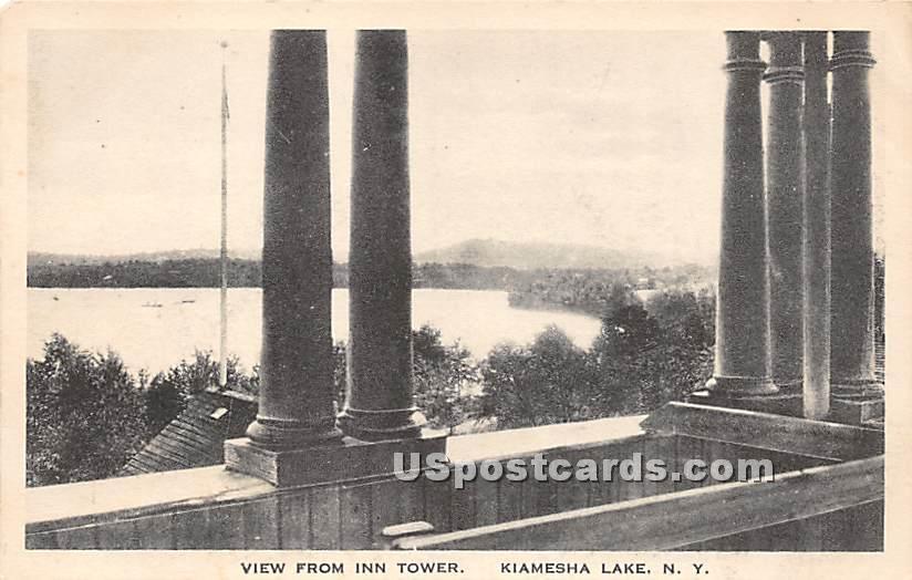 View from Inn Tower - Kiamesha Lake, New York NY Postcard