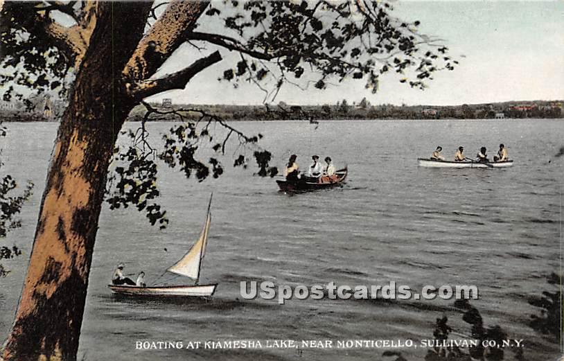 Boating at Kiamesha Lake - New York NY Postcard