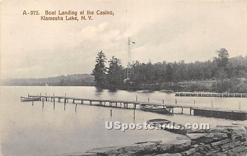 Boat Landing at the Casino - Kiamesha Lake, New York NY Postcard