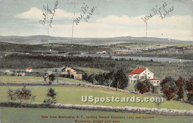 View from Monticello, NY - Kiamesha Lake, New York NY Postcard