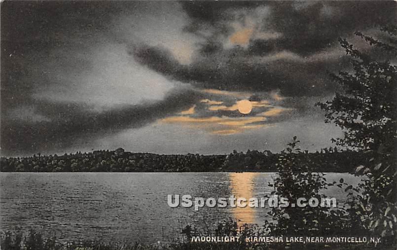 Moonlight on Lake - Kiamesha Lake, New York NY Postcard