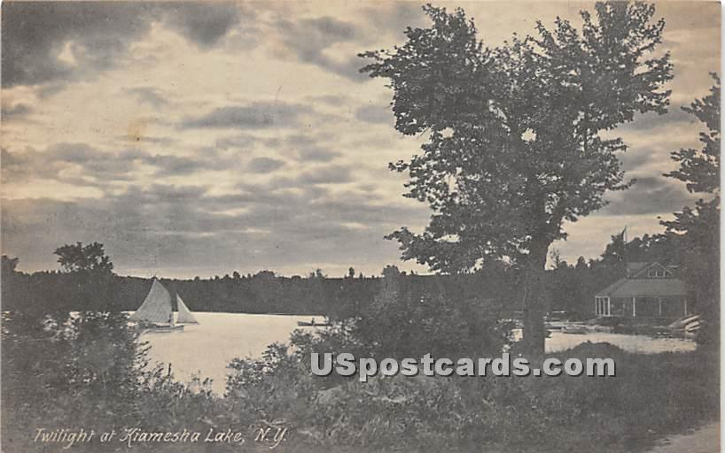 Twilight on Kiamesha Lake - New York NY Postcard