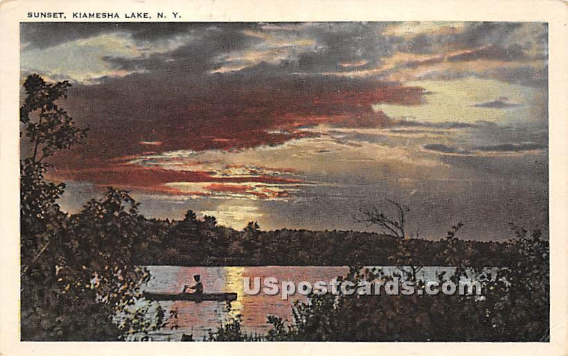 Sunset on Lake - Kiamesha Lake, New York NY Postcard