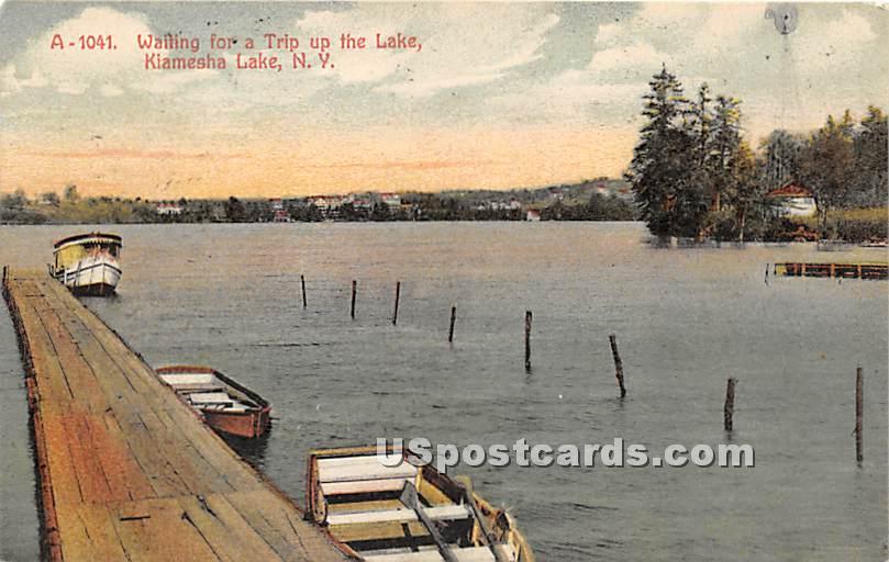 Waiting for a Trip up the Lake - Kiamesha Lake, New York NY Postcard