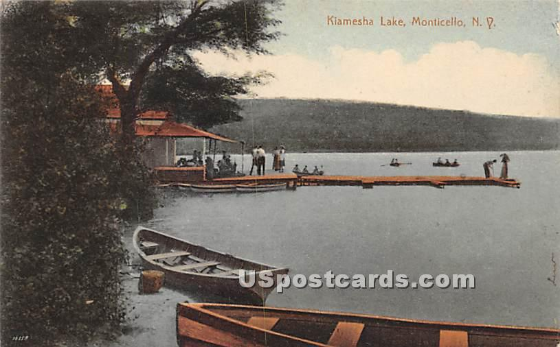Dock Scene - Kiamesha Lake, New York NY Postcard