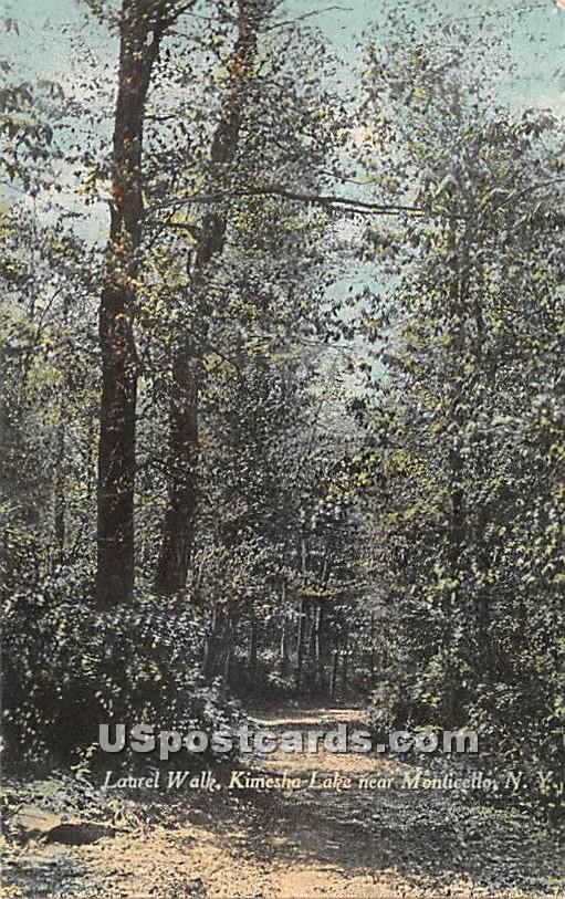 Laurel Walk - Kiamesha Lake, New York NY Postcard