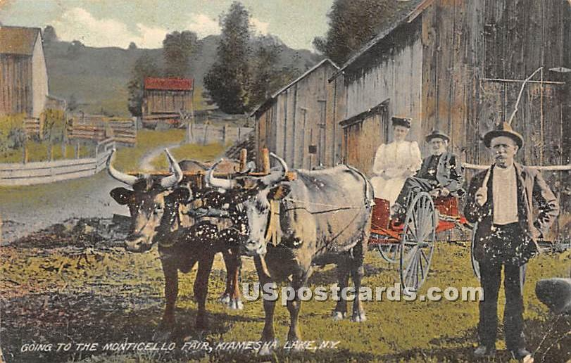 Going to the Monticello Fair - Kiamesha Lake, New York NY Postcard
