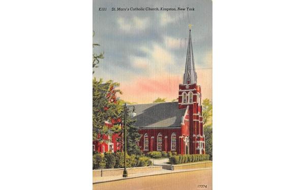 St Marys Catholic Chuch Kingston, New York Postcard