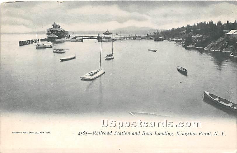 Railroad Station & Boat Landing - Kingston Point, New York NY Postcard