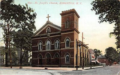 1890 St Josephs Church Kingston, New York Postcard