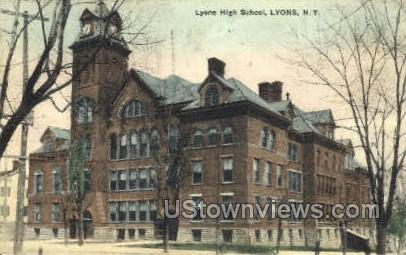 High School - Lyons, New York NY Postcard