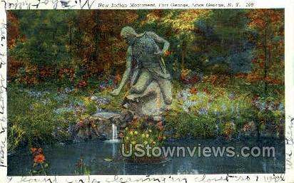 New Indian Monument - Lake George, New York NY Postcard