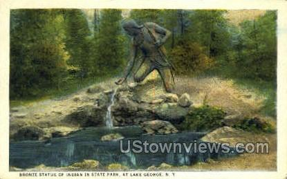 Bronze Statue of Indian, State Park - Lake George, New York NY Postcard