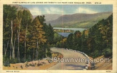 Tongue Mt. Trail - Lake George, New York NY Postcard