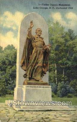 Father Jogues Monument - Lake George, New York NY Postcard