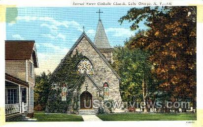 Sacred Heart Catholic Church - Lake George, New York NY Postcard