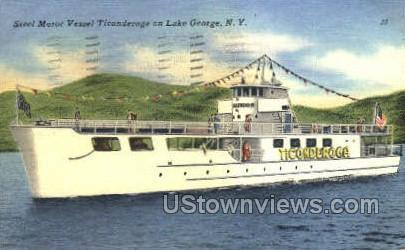 Steel Motor Vessel - Lake George, New York NY Postcard