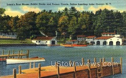 Lamb's Boat House - Lake George, New York NY Postcard