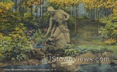 Indian Monument - Lake George, New York NY Postcard
