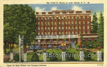 Hotel St. Mortiz - Lake Placid, New York NY Postcard