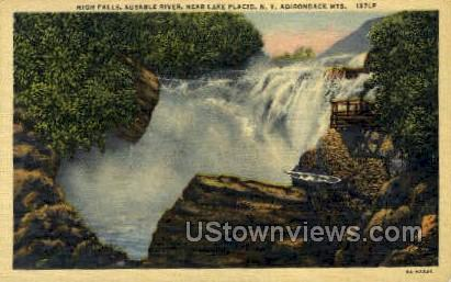 High Falls, Ausable River - Lake Placid, New York NY Postcard
