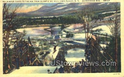 Olympic Ski Hill - Lake Placid, New York NY Postcard