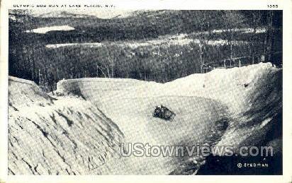 Olympic Bob Run - Lake Placid, New York NY Postcard