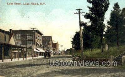 Lake Street - Lake Placid, New York NY Postcard