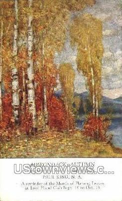 Adirondack Autumn - Lake Placid, New York NY Postcard