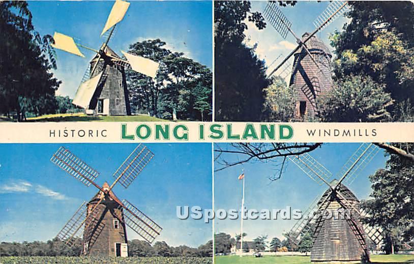 Historic Windmills - Long Island, New York NY Postcard