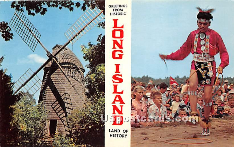 Greetings from Windmill - Long Island, New York NY Postcard