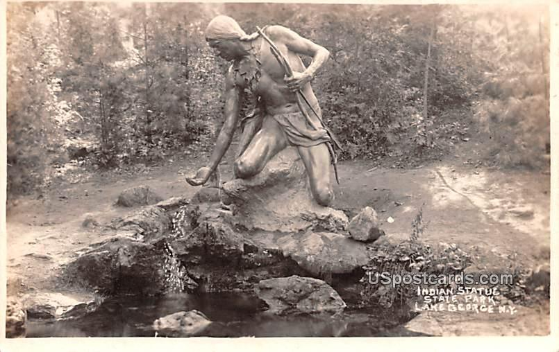 Indian Statue State Park - Lake George, New York NY Postcard