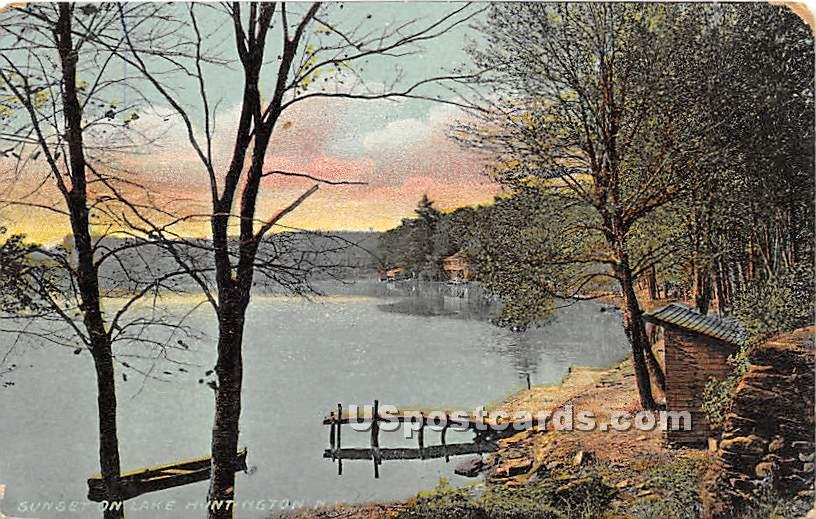 Sunset on the Lake - Lake Huntington, New York NY Postcard