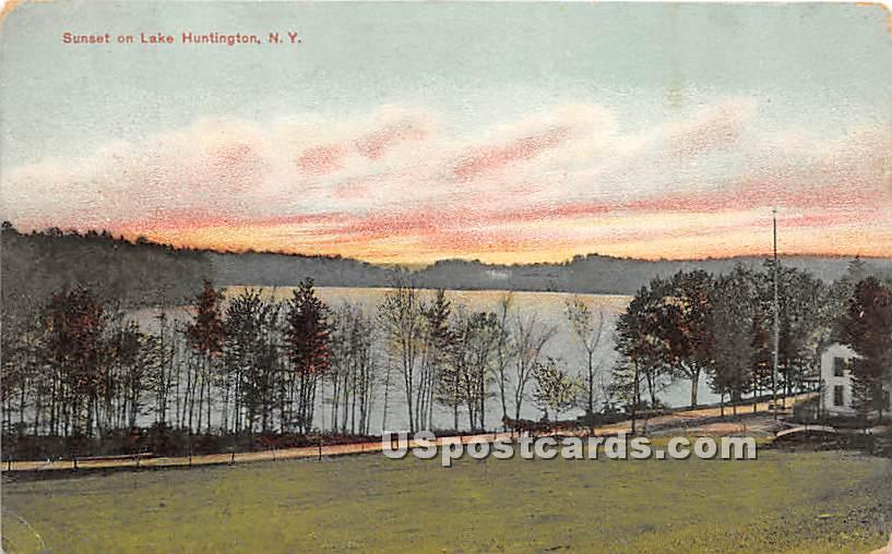 Sunset on the Lake - Lake Huntington, New York NY Postcard