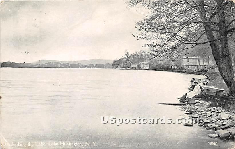 Overlooking the Lake - Lake Huntington, New York NY Postcard