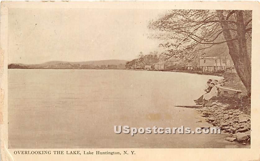 Overlooking the Lake - Lake Huntington, New York NY Postcard