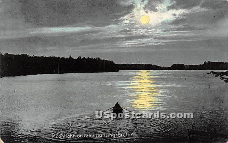 Moonlight on Lake - Lake Huntington, New York NY Postcard