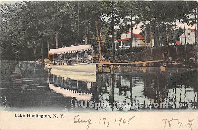 Boat Scene - Lake Huntington, New York NY Postcard