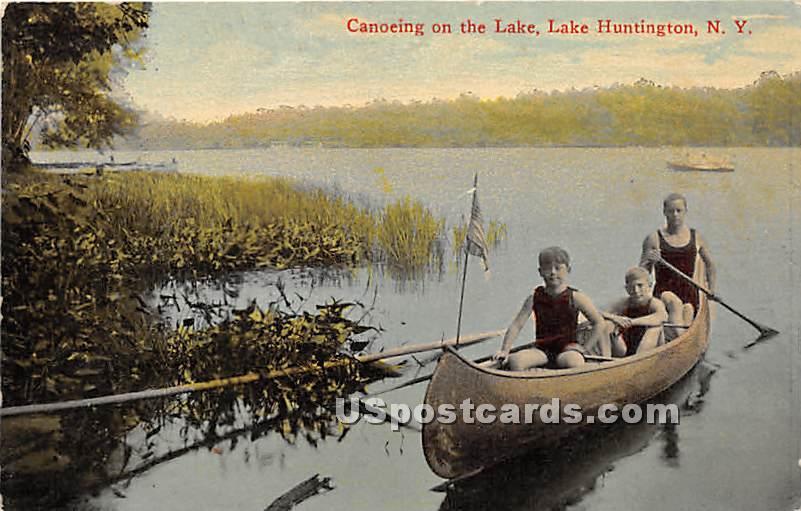 Canoeing on the Lake - Lake Huntington, New York NY Postcard