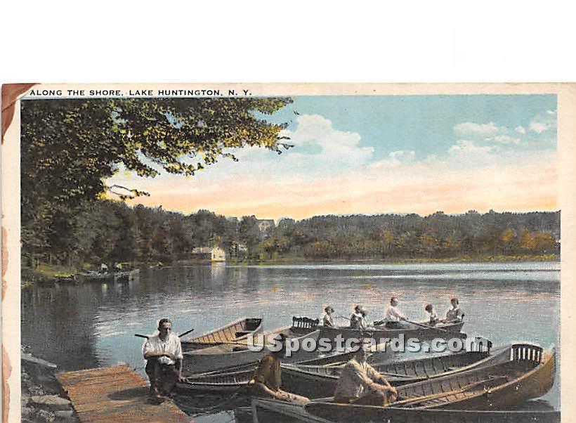Along the Shore - Lake Huntington, New York NY Postcard