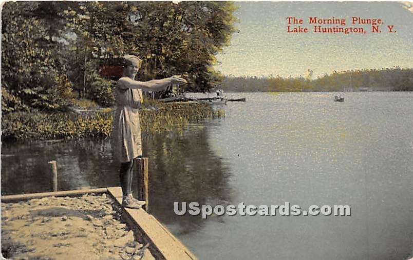 Morning Plunge - Lake Huntington, New York NY Postcard
