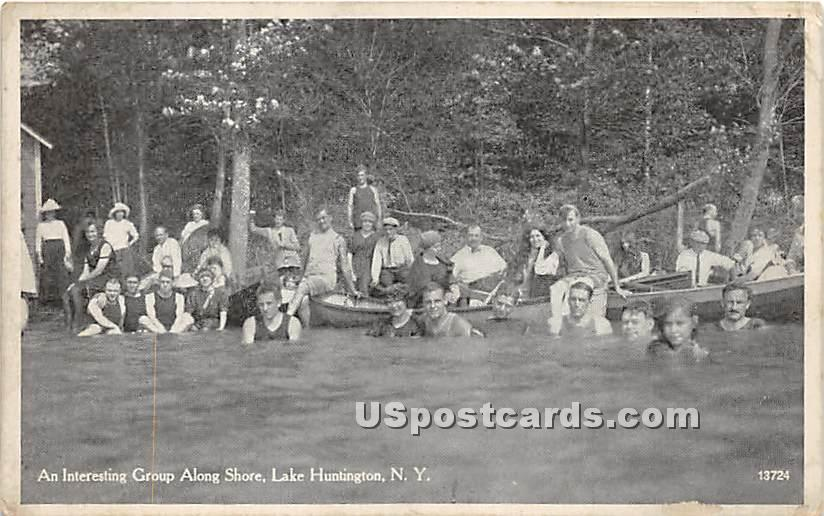 Interesting Group Along Shore - Lake Huntington, New York NY Postcard