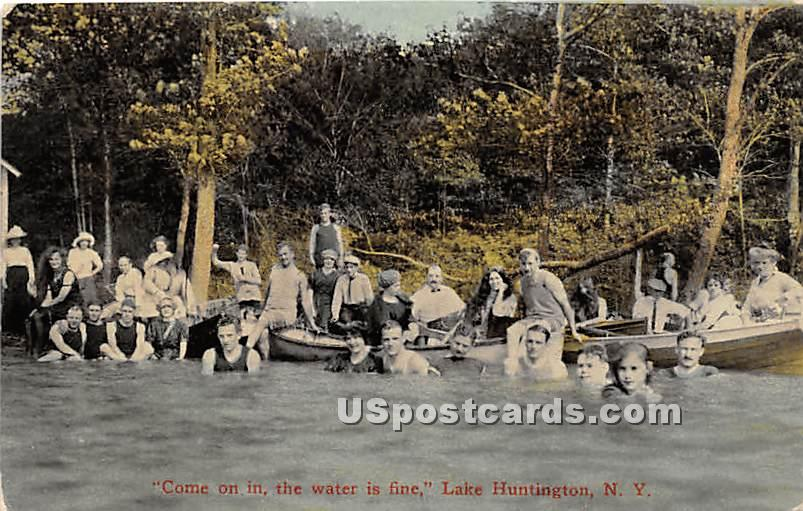 Come on in the Water is Fine - Lake Huntington, New York NY Postcard